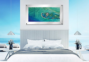 Heavy Effects  Ocean Water Island View Wall Decor White Etched Frosted Frame, Blue Green, rollover
