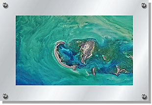 Heavy Effects  Ocean Water Island View Wall Decor White Etched Frosted Frame, Blue Green, large