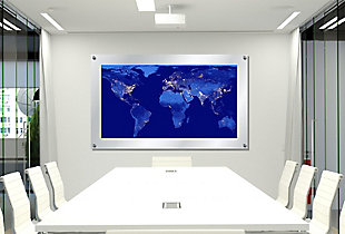 Heavy Effects  World Map Satellite Outer Space View Wall Decor White Etched Frosted Frame, Blue, rollover