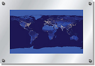 Heavy Effects  World Map Satellite Outer Space View Wall Decor White Etched Frosted Frame, Blue, large
