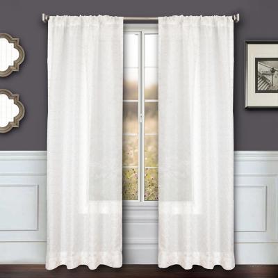 """Bizou 84"""" Sheer Panel Curtain, Silver, large"""