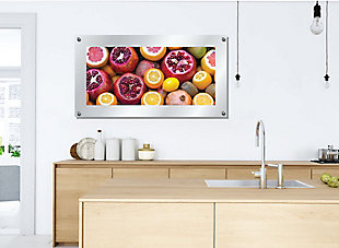 Heavy Effects  Mixed Citrus Fruit Wall Decor White Etched Frosted Frame, Pink, rollover