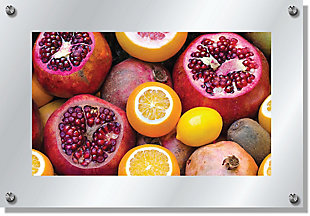 Heavy Effects  Mixed Citrus Fruit Wall Decor White Etched Frosted Frame, Pink, large