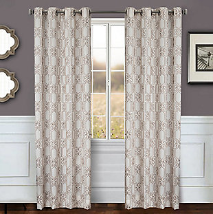 "Bexley 96"" Embroidered Panel Curtain, Natural Latte, large"