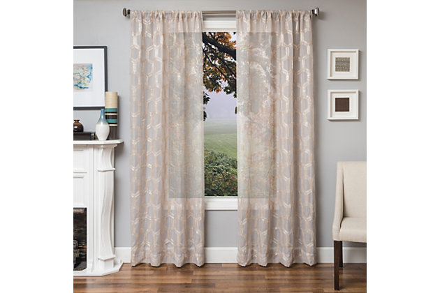 """Rochelle 96"""" Sheer Panel Curtain, Champagne, large"""