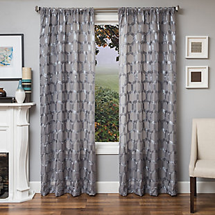 "Rochelle 96"" Sheer Panel Curtain, Gray, large"