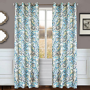 "Carlo 84"" Paisley Panel Curtain, Azure, large"