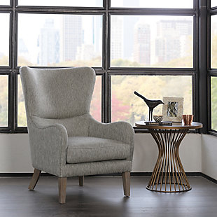 Madison Park Arianna Swoop Wing Chair, Gray, rollover