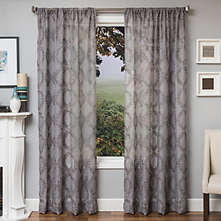 "Connor 84"" Sheer Panel Curtain, Gray, rollover"