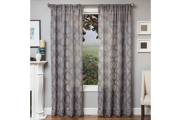 "Connor 84"" Sheer Panel Curtain, Gray, large"