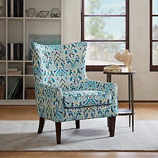 Madison Park Carissa Shelter Wing Chair, Multi, rollover