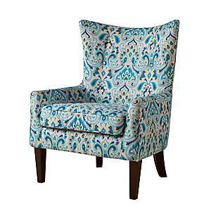Madison Park Carissa Shelter Wing Chair, Multi, large