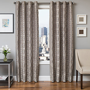 "Davos 84"" Jacquard Tile Panel Curtain, Gray, large"