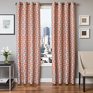 "Davos 96"" Jacquard Tile Panel Curtain, Orange, large"