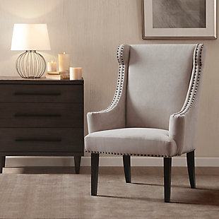 Madison Park Marcel Wing Chair, Taupe, rollover