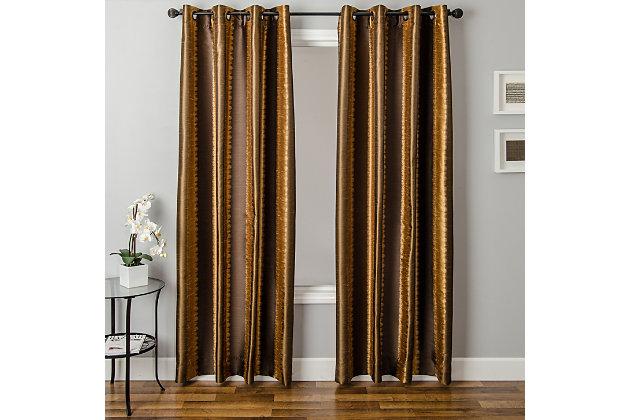 """Fantasia 84"""" Jacquard Ikat Panel Curtain, Caramel Chocolate, large"""