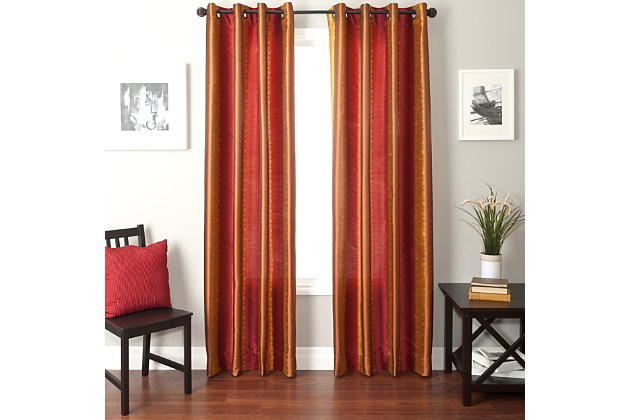 "Fantasia 84"" Jacquard Ikat Panel Curtain, Red Gold, large"