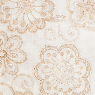 """Elaine 96"""" Floral Panel Curtain, Champagne, large"""