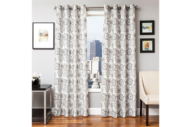 "Elaine 96"" Floral Panel Curtain, Dark Silver, large"
