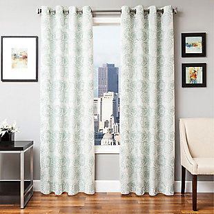 "Elaine 84"" Floral Panel Curtain, Spa, rollover"