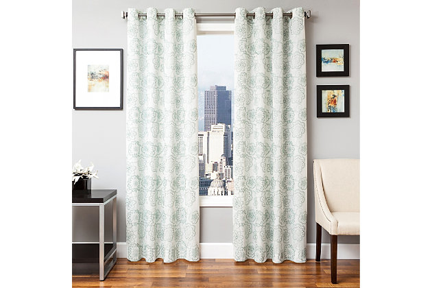 "Elaine 84"" Floral Panel Curtain, Spa, large"