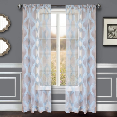 """Erika 84"""" Sheer Jacquard Panel Curtain, Blue Steel, large"""
