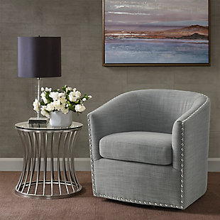Madison Park Tyler Swivel Chair, Gray, rollover