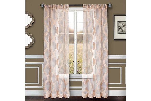 "Erika 96"" Sheer Jacquard Panel Curtain, , large"