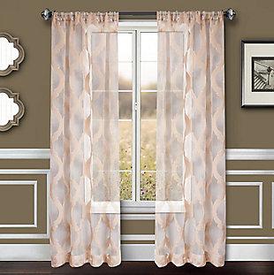 """Erika 84"""" Sheer Jacquard Panel Curtain, Champagne, large"""