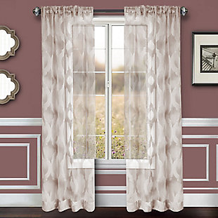 "Erika 84"" Sheer Jacquard Panel Curtain, Gray, rollover"