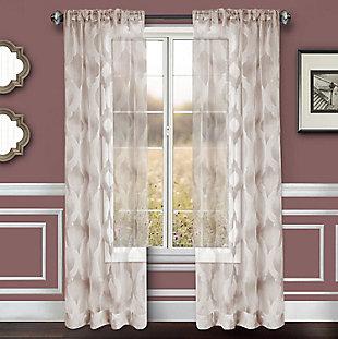 "Erika 84"" Sheer Jacquard Panel Curtain, Gray, rollover"