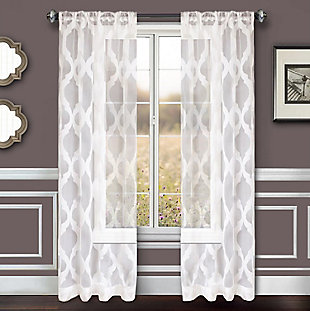 "Erika 96"" Sheer Jacquard Panel Curtain, , rollover"