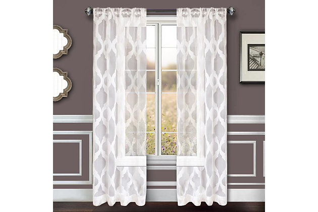 """Erika 84"""" Sheer Jacquard Panel Curtain, White, large"""