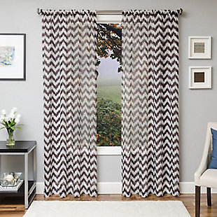 "Lyra 96"" Sheer Chevron Panel Curtain, , large"