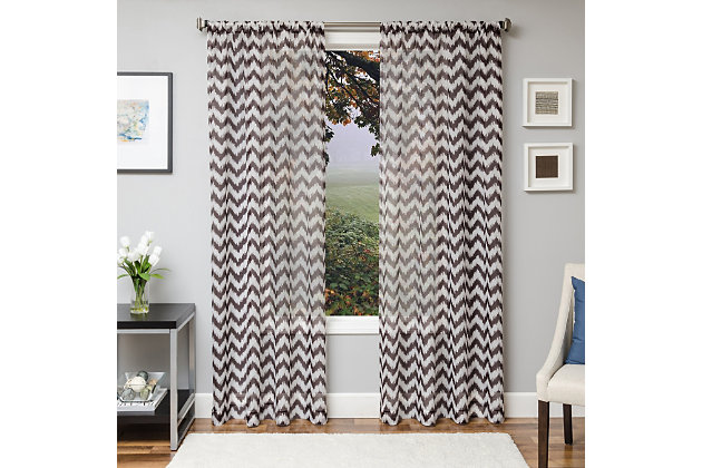 "Lyra 84"" Sheer Chevron Panel Curtain, Chocolate, large"