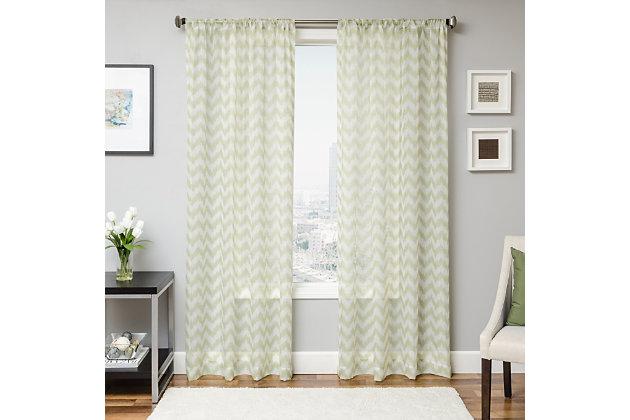 "Lyra 84"" Sheer Chevron Panel Curtain, Lime, large"