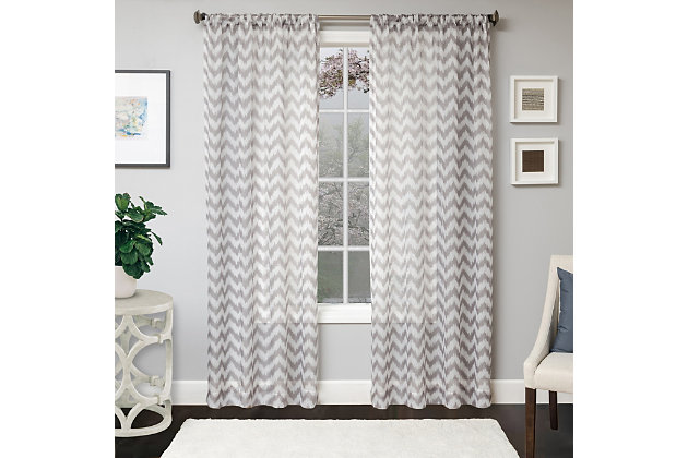 "Lyra 84"" Sheer Chevron Panel Curtain, Platinum, large"