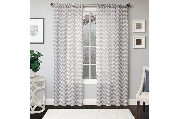 "Lyra 96"" Sheer Chevron Panel Curtain, , large"