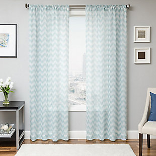 "Lyra 84"" Sheer Chevron Panel Curtain, Sky, rollover"