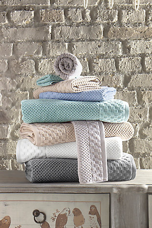 Boston Collection Turkish Cotton Towels Set of 6, Gray, rollover