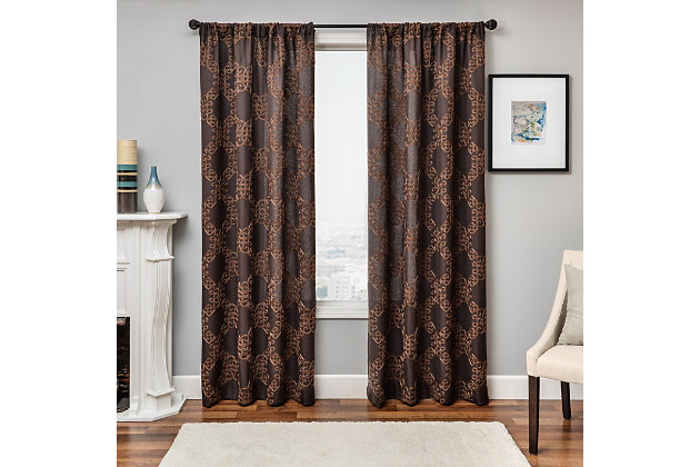 "Liam 96"" Embroidered Panel Curtain, Chocolate, large"