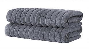 Brampton Collection Bath Towels Set of 2, Gray, large