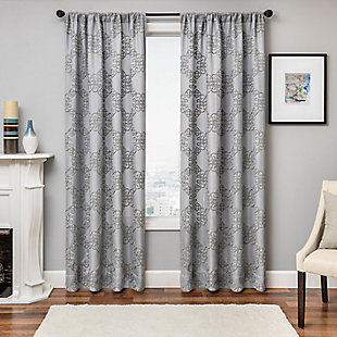 "Liam 96"" Embroidered Panel Curtain, Gray, large"