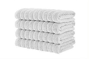 Brampton Collection Hand Towels Set of 4, Platinum, large