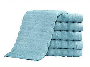 Brampton Collection Washcloths Set of 4, Spa Blue, large