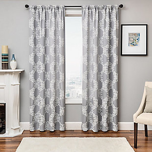 "Liam 84"" Embroidered Panel Curtain, White Gray, large"