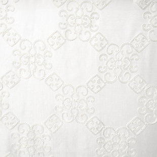 """Liam 84"""" Embroidered Panel Curtain, White, large"""