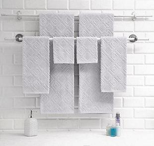 Classic Turkish Towels Diamond Pattern Jacquard 6 Pc Towel Set, Platinum, rollover