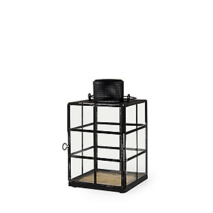 Mercana Small Black Metal and Glass Lantern, , rollover