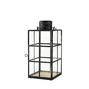 Mercana Medium Black Metal and Glass Lantern, , rollover